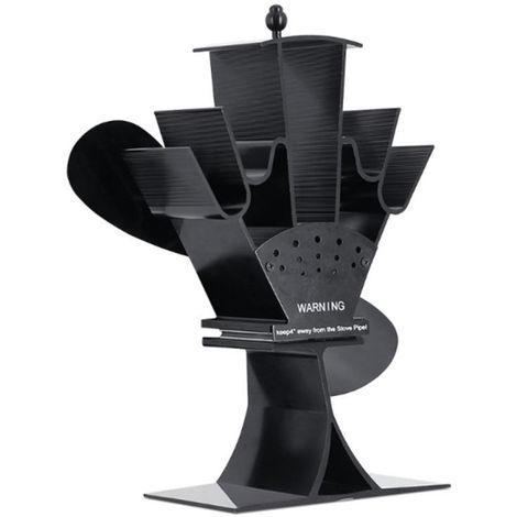 2 cuchillas Estufa silencioso ventilador estufa de calor del ventilador accionado anodizado Alumina Estufa Ventilador de madera del registro del quemador Chimenea, Negro