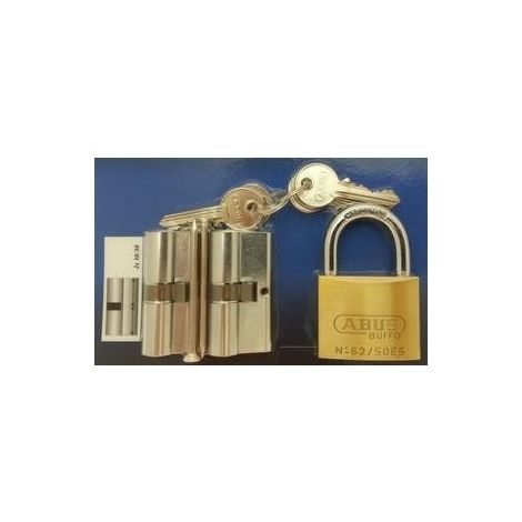 2 CYLINDRES E5N 30x30 + 1 CADENAS 50MM S'ENTROUVRANT - ABUS