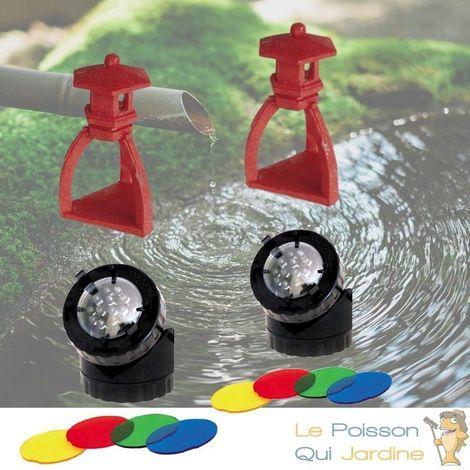 2 Décorations De Bassin De Jardin, Pagode Rouge + 2 Spots LED 1,5W
