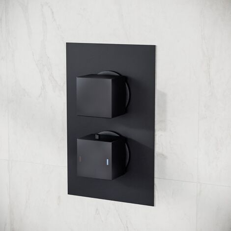 2 Dial 1 Outlet Concealed Thermostatic Shower Square Refined Valve - Matte Black