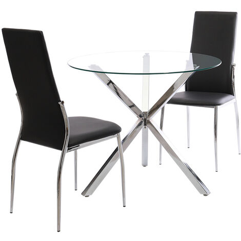 2 dining chairs synthetic leather - dining room chairs, kitchen chairs, dining table chairs - black