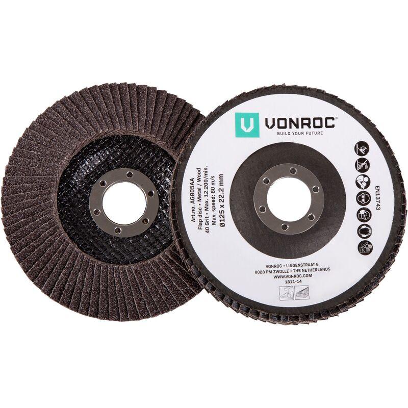 VONROC 2 dischi abrasivi G40 e G60, Ø 125 x 22,2 mm. Per smerigliatrici angolari