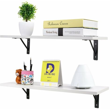 2 Display Ledge Shelf Floating Shelves Wall Mounted with Bracket for Pictures and Frames Modern Home Decorative White