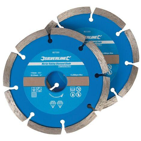 2 disques diamantés segmentés à déjointoyer - 115 x 22,23 mm