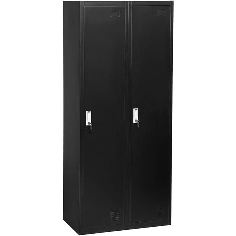 2 Door Metal Storage Cabinet Black OHRID