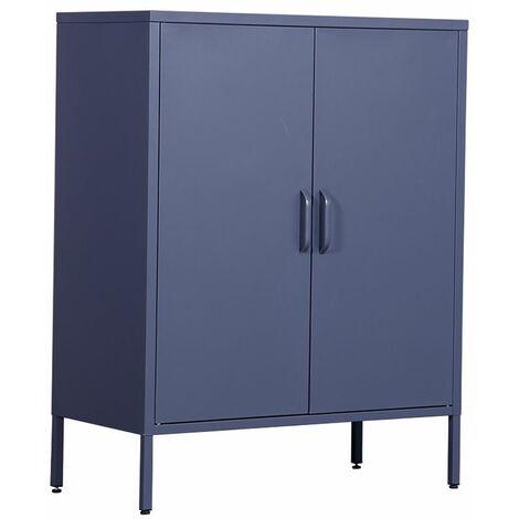 2 Door Metal Storage Cabinet with 3 Tier Inside Shelving - Grey