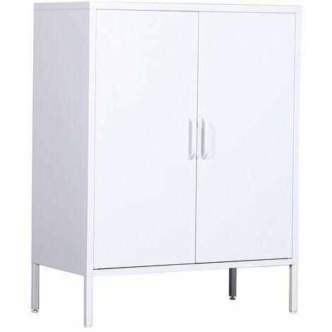 2 Door Metal Storage Cabinet with 3 Tier Inside Shelving - White