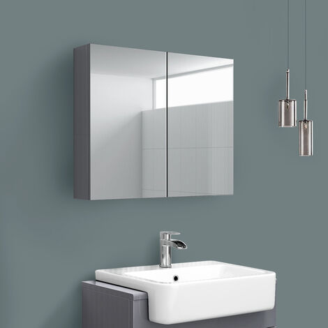 2 Door Mirror Cabinet Wall Mounted Bathroom Storage Furniture 600x667mm Gloss Grey