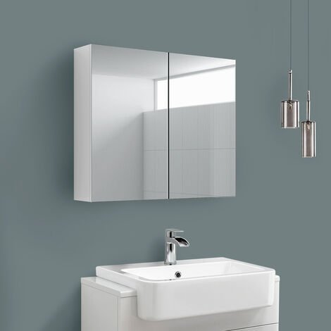2 Door Mirror Cabinet Wall Mounted Bathroom Storage Furniture 600x667mm Gloss White
