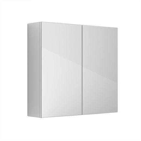 """main image of """"2 Door Mirror Cabinet Wall Mounted Bathroom Storage Furniture 600x667mm Gloss White"""""""