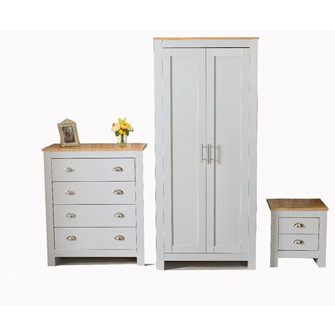 2 Door Wardrobe Bedside Table Chest of Drawer Dressing Table Grey 3-Piece Set