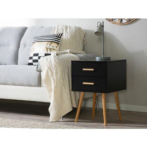 2 Drawer Bedside Table Black ALABAMA