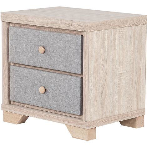 2 Drawer Bedside Table Light Wood with Grey BERCK