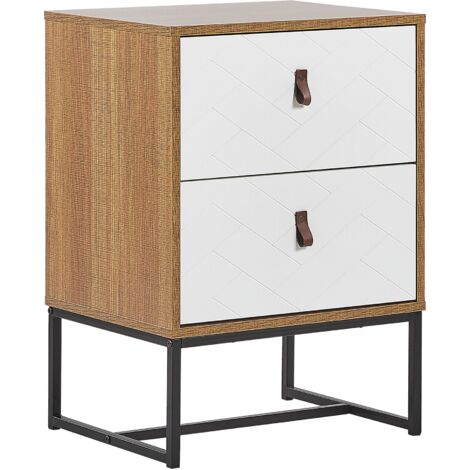 2 Drawer Bedside Table Light Wood with White NUEVA