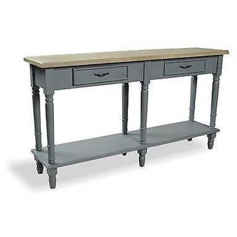 2 Drawer Console Table Shelf Light Distressed Storm Grey Rustic Top