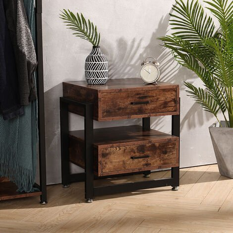 2 Drawer Night Stand Table Bedroom Cabinet Bedside Storage Shelf Side End Shelf Furniture
