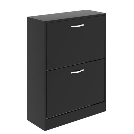 2 Drawer Shoe Cabinet, Black