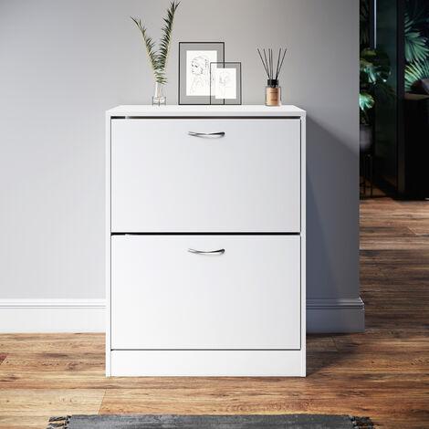 "main image of ""2 Drawer Shoe Cabinet Footwear Rack 10-12 Pairs Storage Wooden Cupboard Unit"""