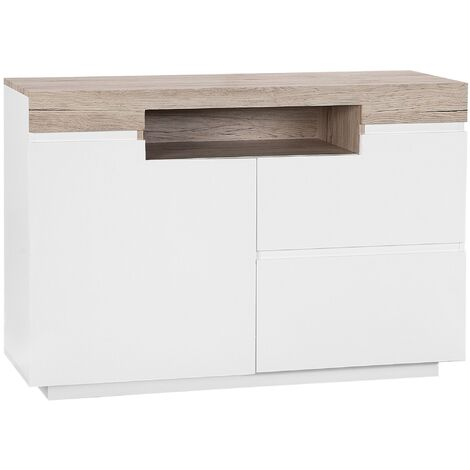 2 Drawer Sideboard White with Light Wood MARLIN