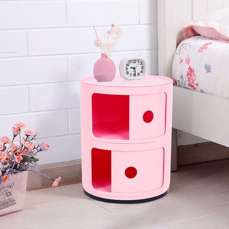 2 Drawers Bathroom Living Room Storage Round Cabinet Stroags Bedside Pink