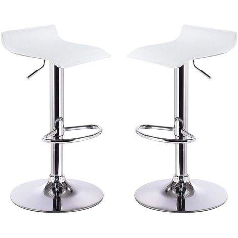 2 eco-leather backless design bar stools for lounge and kitchen Island Counter. Set of two adjustable Leatherette stool chairs with Swivel Gas Lift, Chrome Steel Footrest & Base Model Graziano