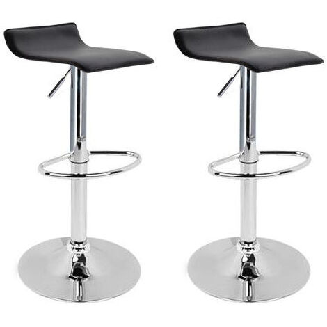 """main image of """"2 eco-leather backless design bar stools for lounge and kitchen Island Counter. Set of two adjustable Leatherette stool chairs with Swivel Gas Lift, Chrome Steel Footrest & Base Model Graziano Colour Black"""""""