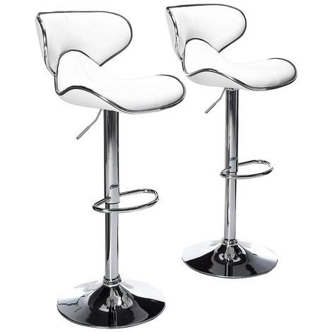 2 eco-leather design bar stools for lounge and kitchen Island Counter. Set of two adjustable Leatherette stool chairs with Swivel Gas Lift, Chrome Steel Footrest & Base Mod.106
