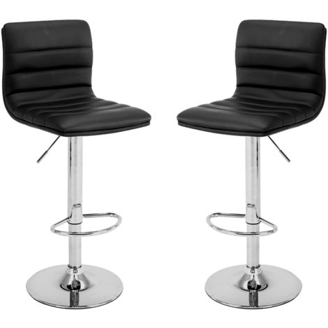 2 eco-leather design bar stools for lounge and kitchen Island Counter. Set of two adjustable Leatherette stool chairs with Swivel Gas Lift, Chrome Steel Footrest & Base Mod.109 Colour Black