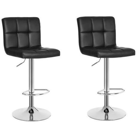 2 eco-leather design bar stools for lounge and kitchen Island Counter. Set of two adjustable Leatherette stool chairs with Swivel Gas Lift, Chrome Steel Footrest & Base Model Eva