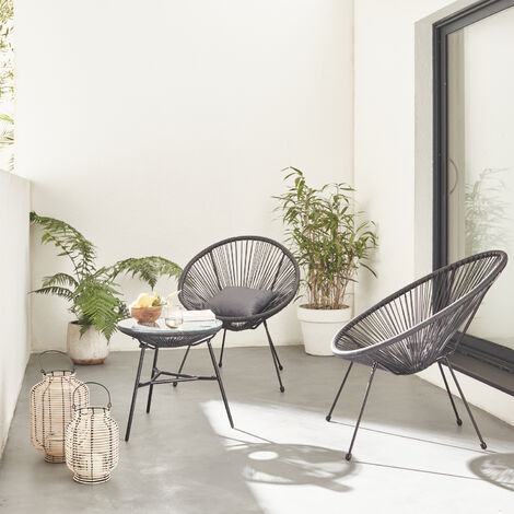 """main image of """"Set of 2 egg designer chairs with table - Acapulco"""""""