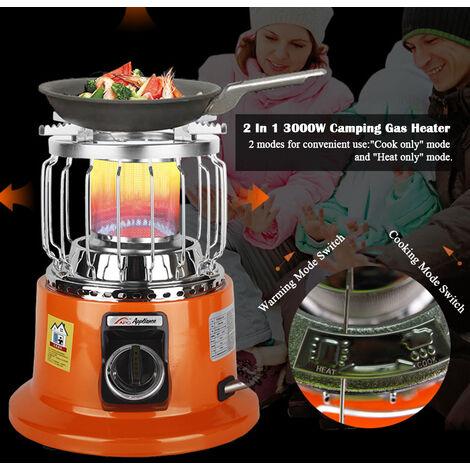 2 En 1 3000W portatil Estufa Calentador acampa Calefaccion Cooker para al aire libre cubierta de cocina Backpacking hielo Pesca de excursion que acampa, licuado Calentador de Gas (con valvula de control de flujo de aire)