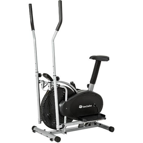 "main image of ""2 en 1 bicicleta elíptica con pantalla LCD - bici fija para sesiones de cardio, bicicleta estable para casa con sillín ajustable, bicicleta home fitness - negro"""