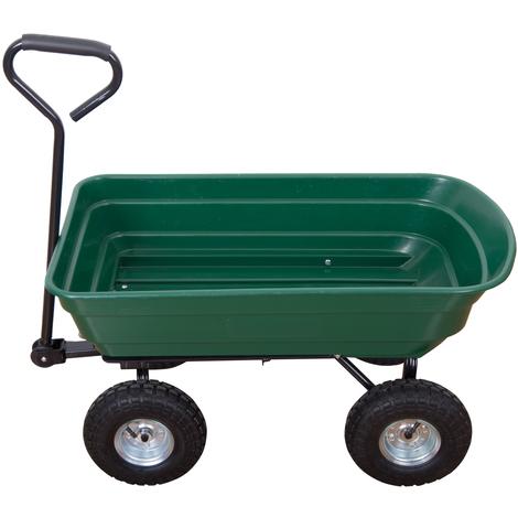 2 en 1 chariot de jardin à main et remorque benne basculante charge max. 200 Kg vert