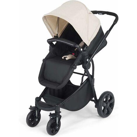 2 en 1 Cochecito y Cuna Silla de Paseo para Bebé Plegable con Cesta de Almacenamiento 61x86x99 Centímetros (Beige y negro)