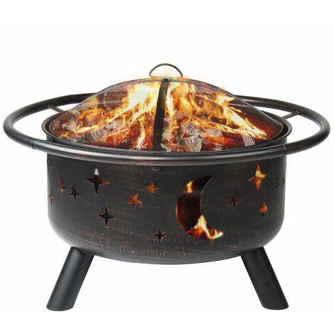 2 en 1 Foyer de Chauffage Brasero Grille barbecue exterieur BBQ 76*76*58cm