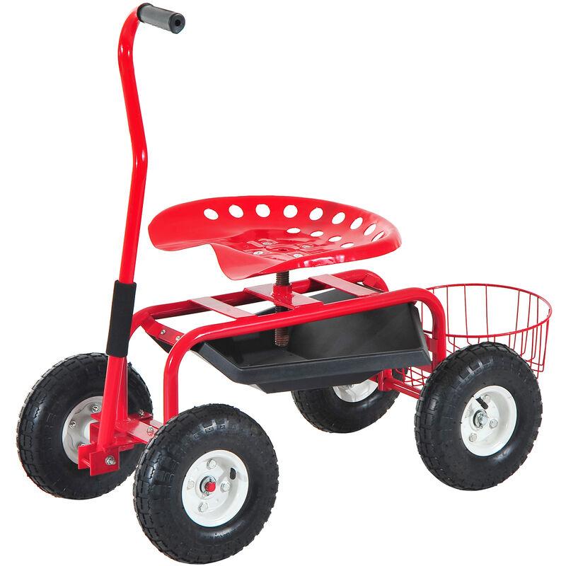 Homcom - 2 en 1 tabouret pivotant chariot mobile de jardin charge max. 150 Kg rouge et noir