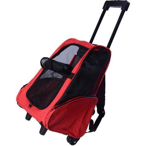 2 en 1 trolley chariot sac a dos sac de transport a roulettes pour chien chat