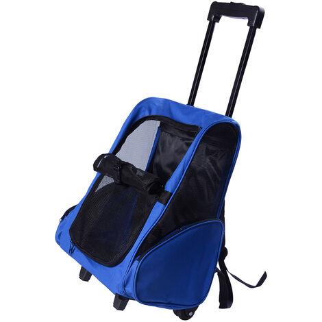 2 en 1 trolley chariot sac à dos sac de transport à roulettes pour chien chat