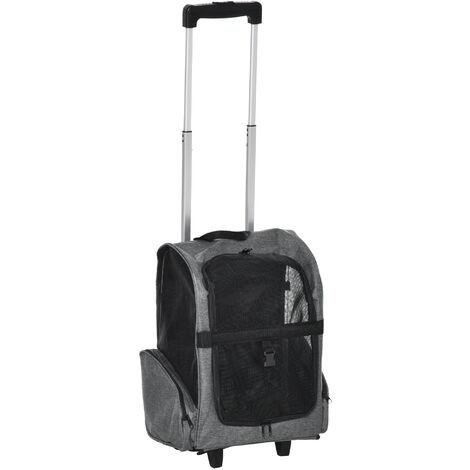2 en 1 trolley chariot sac à dos sac de transport à roulettes pour chien chat gris