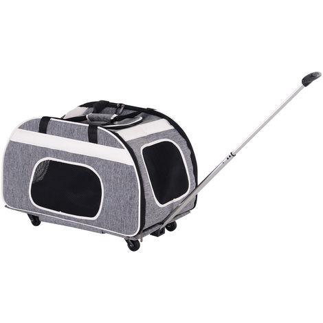2 en 1 trolley chariot sac de transport à main sur roulettes pour chien chat gris chiné noir