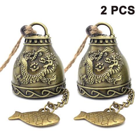 2 ensembles de bon augure pieux maison rétro dragon et phénix dragon d'eau jardin carillons à vent pendentif bénédiction décoration cadeaux