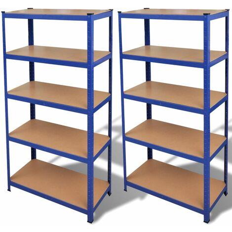 2 Estanterías azules de almacenamiento