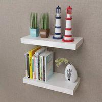 2 estantes exhibidores flotantes de tablero DM blanco para libros/DVDs