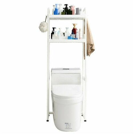 2 étagères au-dessus de l'organisateur de support de stockage de serviette d'économie d'espace de salle de bains de toilette