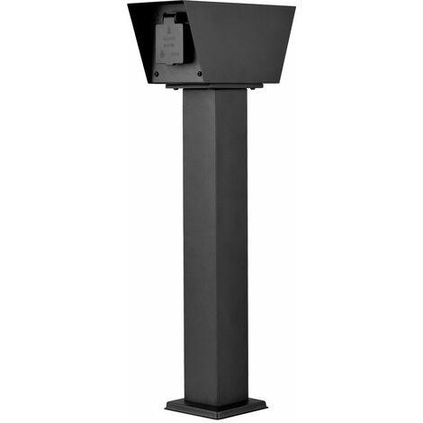 2-fach Außen Steckdose in schwarz, Höhe 52cm, CONNECT L2A