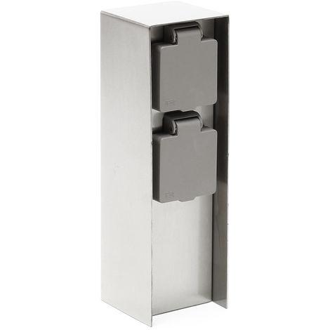 2-fach Außensteckdose aus Edelstahl, 230V Gartensteckdose mit IP44 Schutzklasse für Außenbereiche