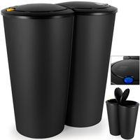 2-fach Mülleimer - - Duomülleimer 2x25Liter + Druckknopf-Automatik zur Deckelöffnung - 50x53cm silber - platzsparend - leicht zu reinigen