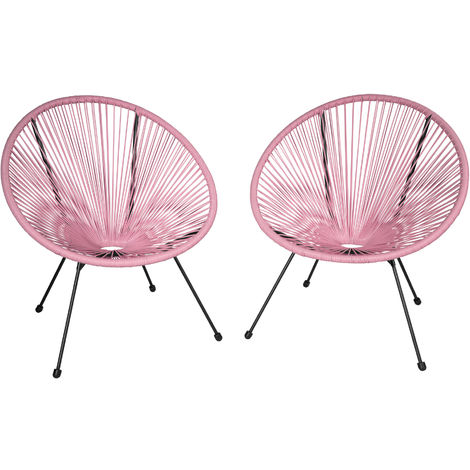 2 fauteuils acapulco de jardin de salon design r tro cadre en acier rose 403304 - Cadre salon design ...