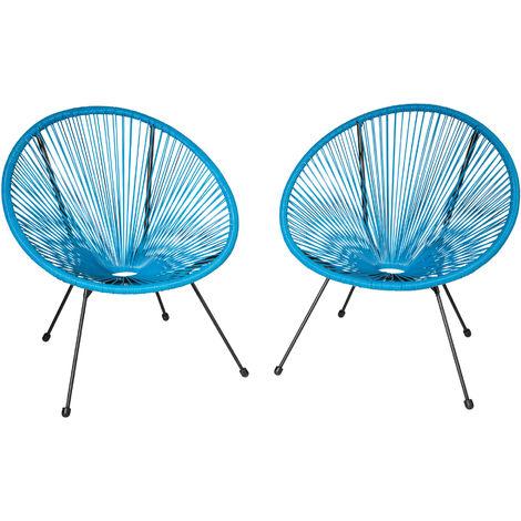 2 fauteuils acapulco de jardin de salon design r tro cadre en acier bleu 403306 - Cadre salon design ...