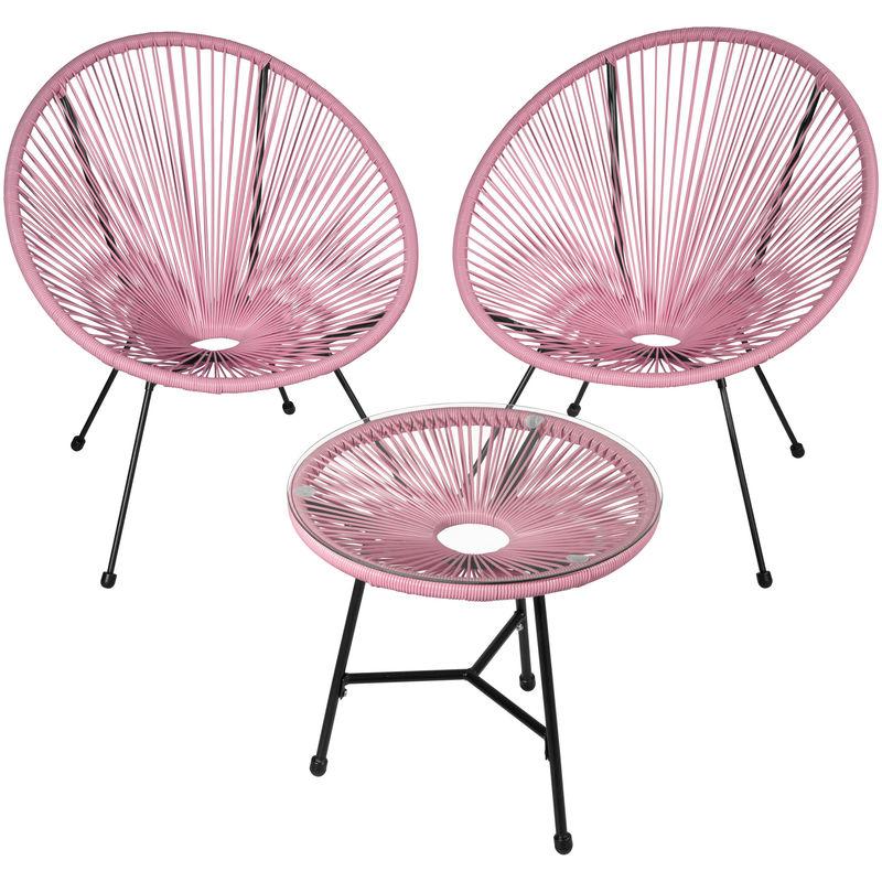 2 Fauteuils Acapulco et 1 Table de Jardin de Salon Design rétro Cadre en  Acier Noir